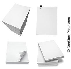 dokument, affärskontor, papper, ringla, stack