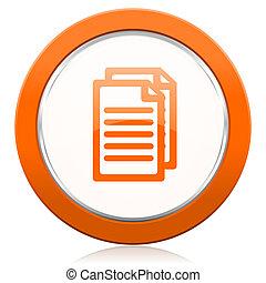 dokument, appelsin, ikon, sider, tegn