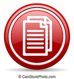 dokument, czerwony, połyskujący, ikona, na białym, tło
