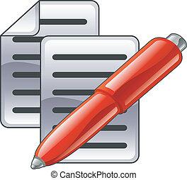 dokument, glänsande, röd, penna