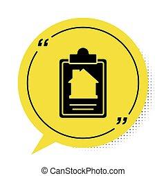 dokument, gul, ikon, hvid, vektor, dannelse, tjeneste, boble, hus, baggrund., ansøgning, composition., kontrakt, symbol., oprettelse, sort, form, isoleret, tale