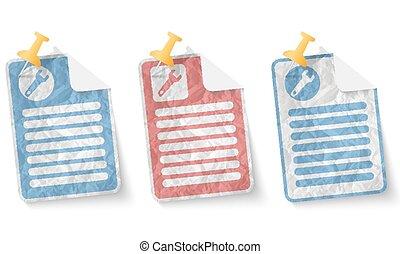 dokument, hos, crumpled avis, og, skruenøgl