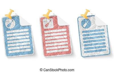 dokument, hos, crumpled avis, og, skruetrækker