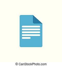 dokument, ikona, papier, poznaczcie., rząd, symbol., wektor, illustration., płaski, design.