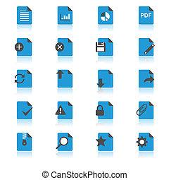 dokument, lejlighed, hos, reflektion, iconerne