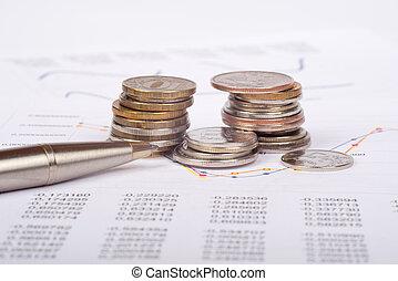dokument, mit, geldmünzen