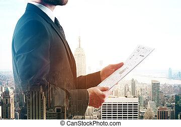 dokument, multiexposure, holdingen, man