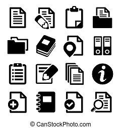 dokument, och, mappar, ikonen, set.