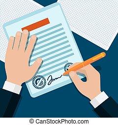 dokument, omgås, stemplet, mand, tegn