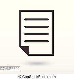 dokument, płaski, icon., znak, rząd