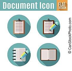 dokument, płaski, ikona