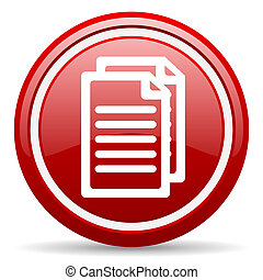 dokument, rotes , glänzend, ikone, weiß, hintergrund