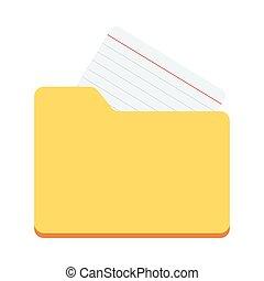 dokument, skoroszyt, płaski, ikona