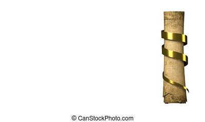 dokument, zwijanie, złoty, starożytny