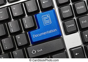 dokumentacja, -, key), klawiatura, konceptualny, (blue