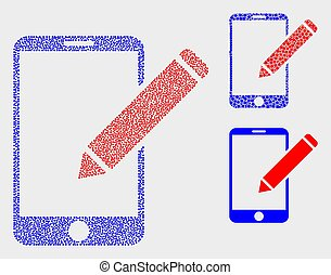 dokumentacja, redagować, ikony, telefon, wektor, pixelated