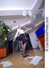 dokumente, .happy, werfen, geschäftsfrau