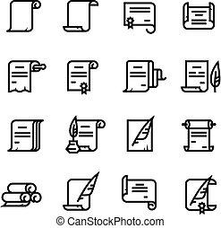 dokumente, rollen, einfache , diplom, icons., symbole, vektor, papier, uralt