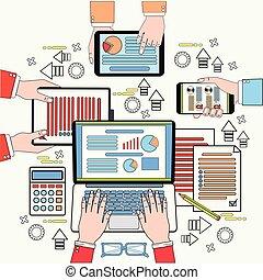 dokumenter, folk branche, proces, top, arbejde, analyse, tabletter, arbejdspladsen, skrivebord, udsigter, digitale, laptop, diagrammer