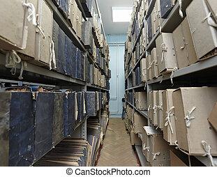 dokumentovat, dávný, místo, vinobraní, skladiště, pořadač