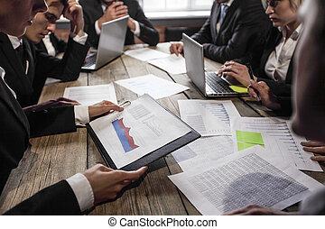 dokumenty, analizując, handlowy zaludniają