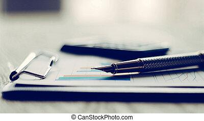 dokumenty, handlowy, kalkulator, wykres, wzrost, pen.