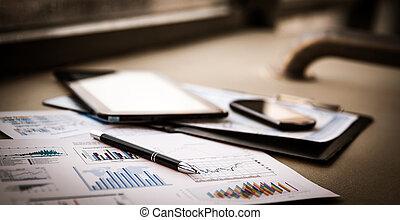 dokumenty, handlowy, wykresy, wzrost, klawiatura, pen.