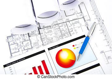 dokumenty, plan, wykresy, piłka, pióro