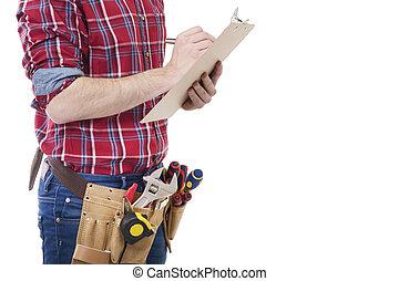 dokumenty, pracownik, pisanie, zbudowanie, architekt, albo