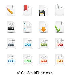 dokumenty, //, profesjonalny, ikona, komplet