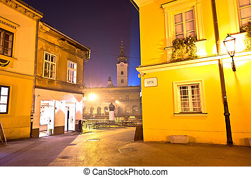 Dolac square in Zagreb advent evening view