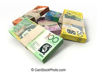 dolar, australijski, pliki, notatki, stóg