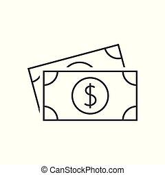dolar, banknot, ikona