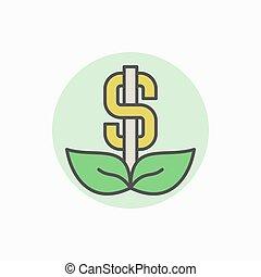 dolar, barwny, ikona