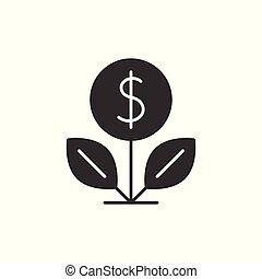 dolar, czarnoskóry, drzewo, ikona