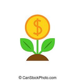 dolar, drzewo, płaski, ikona