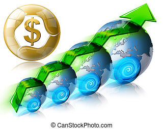 dolar, finansowy, dodatni