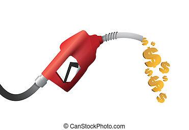 dolar, plyn, ilustrace, měna, pumpa, design