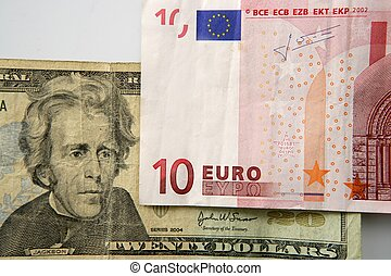 Dolar versus euro note, finance metaphor