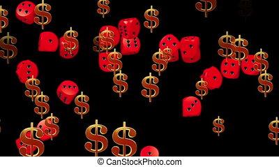 dolar znaczy, i, gra w kości