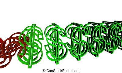 dolar znaczy, spadanie