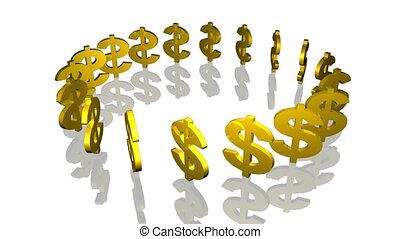 dolar znaczy, w, koło