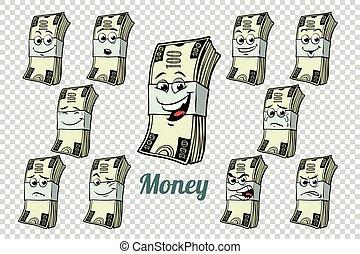dolary, gotówka, zbiór, jeden, uszczelka, wzruszenia, litery, sto