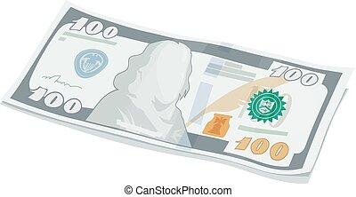 dolary, jeden, nuta, nowy, sto, bank
