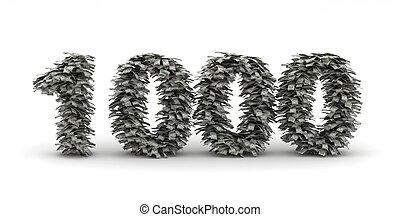 dolary, liczba, litera, 1000