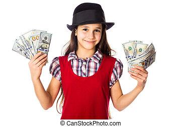 dolary, szczęśliwy, dziewczyna, siła robocza