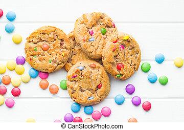 dolce, biscotti, candies., colorito