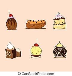dolce, cupcake, set, collezione, vettore, dessert