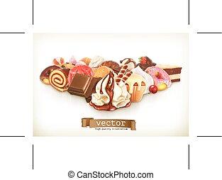 dolce, dessert, con, cioccolato, pasticceria, vettore, illustrazione