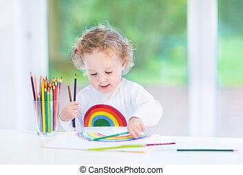 dolce, divertente, bambino primi passi, ragazza, pittura, uno, arcobaleno, in, uno, stanza bianca, con